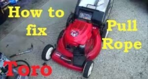 HOW TO Replace / REWIND the STARTING PULL ROPE on a common TORO GTS Recycler Lawnmower. TECUMSEH